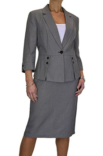 ICE Donne Gonna Completo Affari Ufficio Tailored Blazer Tweed Grigio