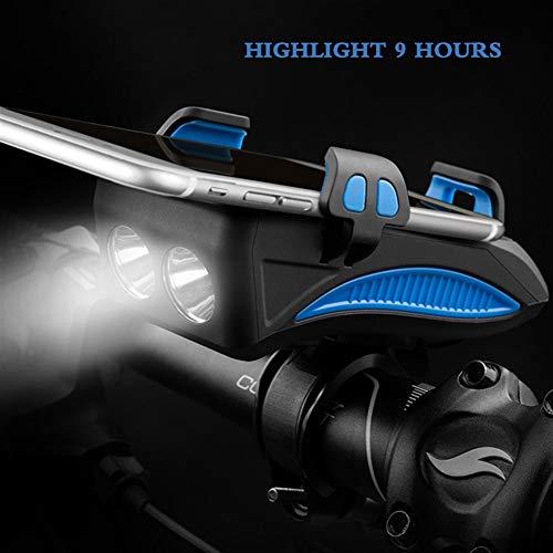 REAELAMPWWJ Front-Fahrrad-Licht USB aufladbare Wasserdicht Fahrradbeleuchtung mit Horn und Handy-Halter High Intensity paßt auf jedem Rennrad Leichtsport & Outdoor (Color : Blue)