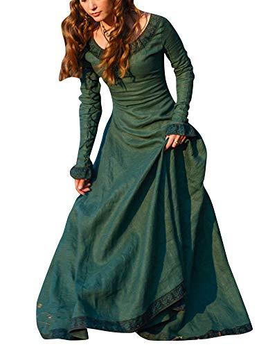 PengGengA Damen Renaissance Mittelalterlichen Korsett Kleid Maxi Party Halloween Kostüm Grün ()