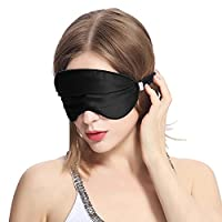 LILYSILK Eye Mask Silk Blindfold with 100% Silk Cover and Polyester Filling for Sleeping Travel Adjustable Strap Black