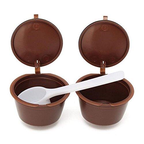 2nachfüllbar Kaffee Kapseln Tassen Kaffee Filter Körbe + Kunststoff Löffel für Dolce Gusto wiederverwendbar Brewers Refill Tasse Filter