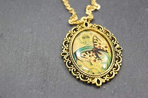 Halskette Kette mit Anhänger Schmetterling Uhr Frühling Sommer