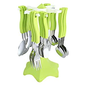 Ritu Stainless Steel Cutlery Set, 24-Pieces, Pink and Green
