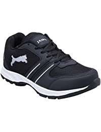 Jaisco Men's Running Black Sliver Lace Up Sport Shoes