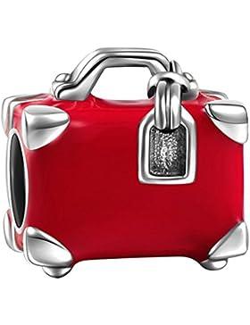 Soufeel Rot Emaile Reisen Koffer Charm 925 Sterling Silber Damen Bead