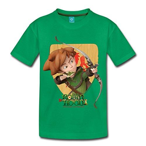 Spreadshirt Robin Hood Schießt Mit Seinem Bogen Kinder Premium T-Shirt, 122/128 (6 Jahre), Kelly Green