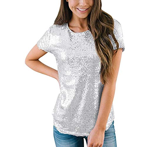 Pailletten Tops Frauen Casual O Hals Kurzarm Party Club T Shirts Tunika -