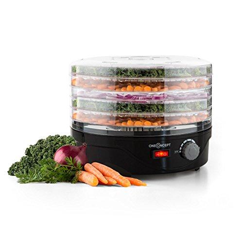 oneConcept Bonsai Deshydrateur electrique (250W, 4 étagères lavables en machine, 40°- 70°C) - noir