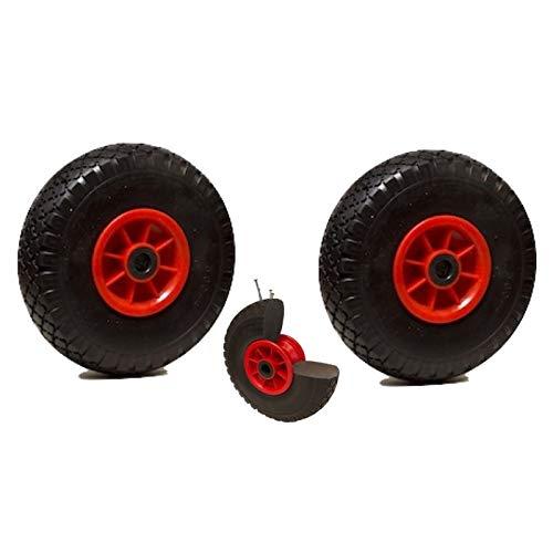 LOT de 2 roues diables increvables 260 x 85 alésage 25 mm (3.00-4) à rouleaux charge 150 Kg