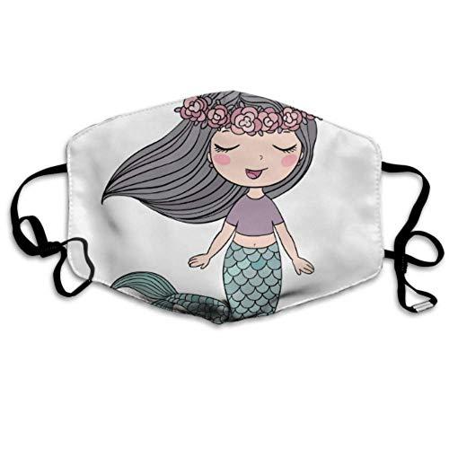 Beautiful Fairy Tales Mermaid Girl modische Ohrschlaufe, Gesichtsmasken, Anti-Staub, Anti-Grippe, Keime, Bakterien, Virus, Smog, Gesichts- und Nasenschutz, mit verstellbarem Gummiband