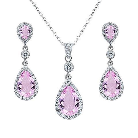 Clearine Women's 925 Sterling Silver Wedding Bridal Cubic Zirconia Infinity Teardrop Pendant Necklace Dangle Earrings Set Pink Tourmaline Color