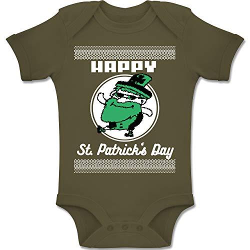 Anlässe Baby - Happy St. Patrick's Day Pixel - 3-6 Monate - Olivgrün - BZ10 - Baby Body Kurzarm Jungen Mädchen
