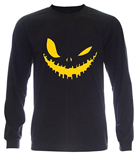PALLAS Unisex's Halloween Evil Smile T Shirt Black Long Sleeve