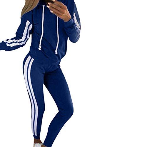 Geilisungren Damen Mode 2 Stück Streifen Trainingsanzug Jogginganzug Frauen Langarm Pullover Sweatshirt Kapuzenjacke Hoodie Mantel Top + Lange Hose Set Sportanzüge Yoga Outfit -