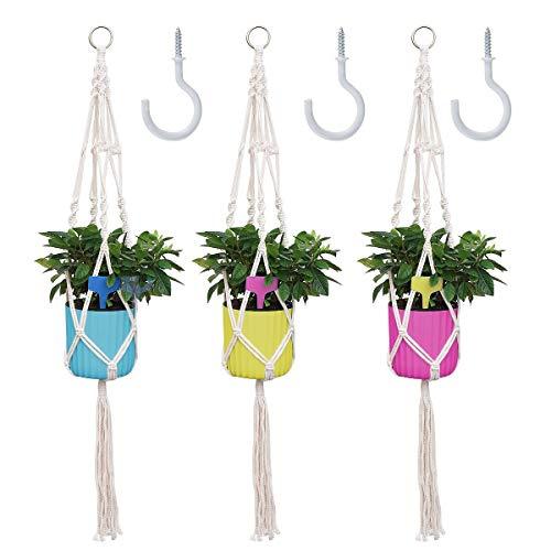 Makramee Blumenampel, 3 Packungen Blumentopf Hängend Baumwollseil mit drei Aufhängehaken, Innen Pflanzenampel Hänge Blumentöpfe für Balkon Deko Dekoration