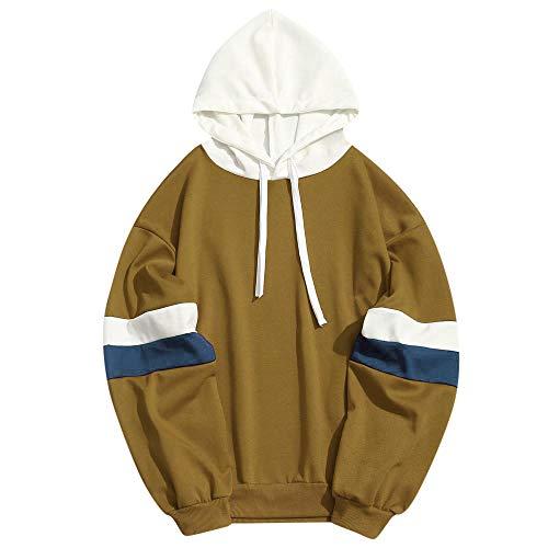 Yvelands Herren Sweatshirt Hoodie Casual Patchwork Slim Fit Hoodie Outwear Bluse Sweatshirt(EU-50/XL,Gelb)