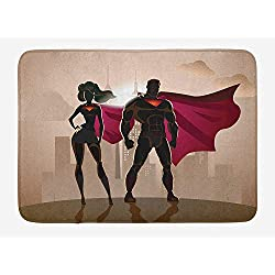 ARTOPB Superhero Bath Mat, Super Woman and Man Heroes in City Solving Crime Hot Couple in Costume, Plush Bathroom Decor Mat with Non Slip Backing, 23.6 W X 15.7 W Inches, Beige Brown Magenta