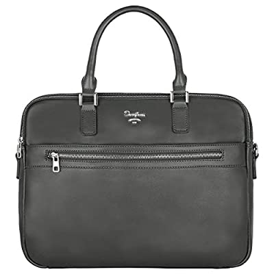 David Jones - Sac à Main Business Porte-Documents Homme - Style Cuir Véritable - Cartable Travail Sacoche Ordinateur Portable - Sac Serviette Affaires Professionnel Bandoulière Porté Epaule