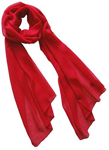 Nella-Mode Uni-Farbener Seidenschal, ca. 180x50 cm; reine Seide; Farbe Rot