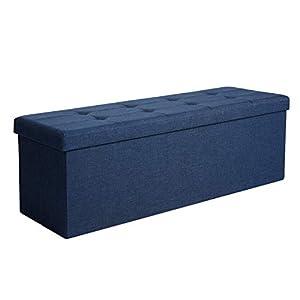 SONGMICS Sitzbank mit Stauraum, Truhe mit Deckel, faltbares Sitzmöbel, Bett, Schlafzimmer, Flur, platzsparend, 120L Fassungsvermögen, stabil bis 300 kg, gepolstert, marineblau LSF77IN