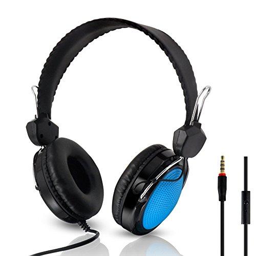 Fulltime E-Gadget Musik Kopfhörer, Wired Over Ear Headset Mit Mikrofon Steuerung Stereo-HiFi-Musik Computer-Headset (Blau)