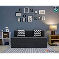 Uberlyfe 3 Seater Sofa Cum Bed - Perfect for Guests - Jute Fabric Washable Cover - Dark Grey with 2 Cushions | 5' X 6' Feet.(SCB-001733-BK_A)