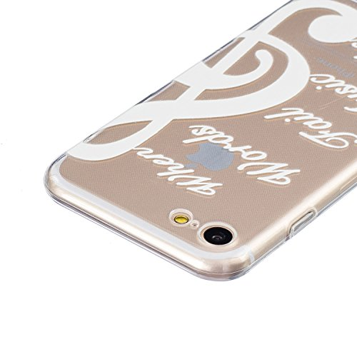 iPhone 7 Hülle,SainCat iPhone 7 Silikon Hülle Tasche Handyhülle Weiß Retro Muster [Elephant] Schutzhülle Transparent TPU Gel Case Bumper Weiche Crystal Kirstall Clear Silikonhülle Durchsichtig Handy G Weiß-Note