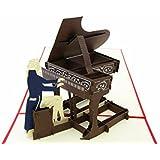 PopLife Cards Grand piano fête des pères popup carte de voeux pour toutes les occasions joyeux anniversaire, félicitations, remise des diplômes, musiciens de retraite, enseignant et étudiant, les ama
