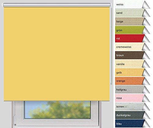 Der Jalousienladen EFIXS Thermorollo Medium - 25 mm Welle - gelb - Größe: 140x190 cm (Stoffbreite x Höhe) - Hitzeschutzrollo - Verdunklungsrollo