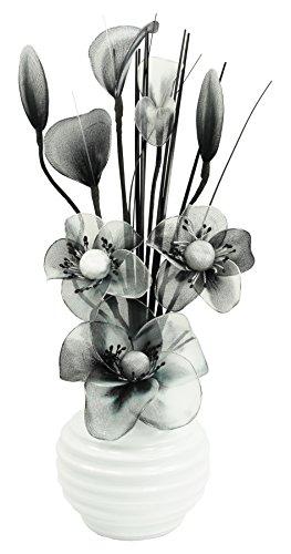 Schwarz und Weiß Künstliche Blumen Mit Weiß Vase, Deko, Wohnaccessoires & Deko Geeignet für Bad, Schlafzimmer Oder Küche Fenster / Regal, 32cm