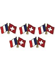 5 pièce Pack pins drapeaux amitié France / Suisse