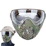 GODNECE Taktische Maske Motorrad Schutzmaske Gesichtsmaske Mit Brille für Nerf Airsoft Paintball, 52-64cm