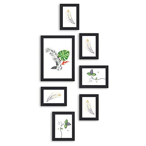 n Set, 7er-Fotorahmen-Set, Glasscheibe, mit 3 Größen, eine 21 x 29,7 cm, Zwei 13 x 18 cm, Vier 10 x 15 cm, für mehrere Fotos, Schwarze Holzmaserung RPF31BK ()