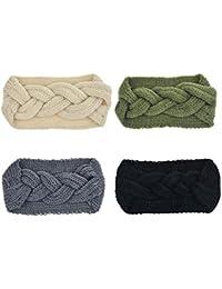 c56f4d86b48f DRESHOW 4 Pièces Nœud Bandeau Hiver à Couleur Pure Laine Tricotée Tete  Cheveux Femme Crochet Hiver