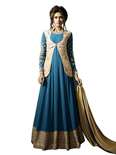Indisch Salwar Kameez Frau Nicht abgesteppt Anarkali kleid partywear Nicht Gewunden Nur Material Mirchi Fashion (Salwar Kameez Krepp)