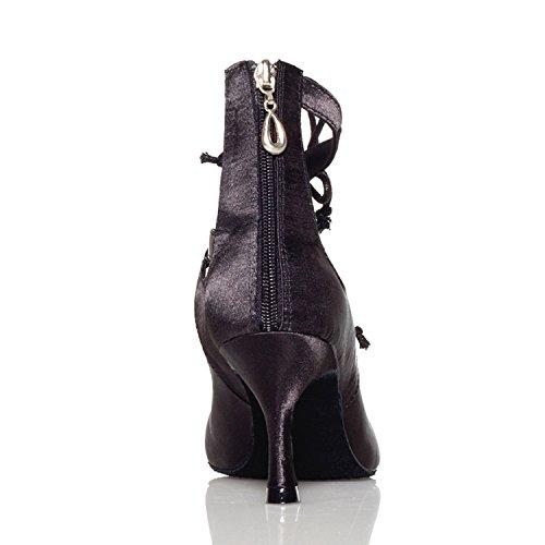 Minitoo femme en dentelle Satin pour les sandales Salsa écoles de danse latine chaussures Noir - noir