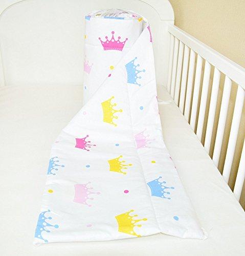 Bettumrandung Nest Kopfschutz Nestchen 420x30cm, 360x30cm, 180x30 cm Bettnestchen Baby Kantenschutz Bettausstattung Krone (A26) (180x30cm)