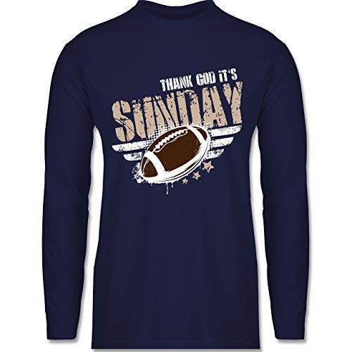 Shirtracer American Football - Thank God Its Sunday Football - Herren Langarmshirt Navy Blau