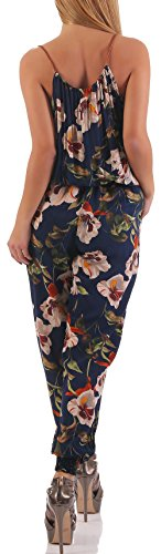 malito Jumpsuit dans le Fleurs Design long Overall 016-25 Femme Taille Unique bleu foncé