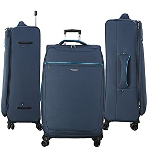 New 8 WHEELED SPINNER 20 24 28 32 Inch TRAVEL TROLLEY LUGGAGE SUITCASE PULL BAG 2307 BLUE