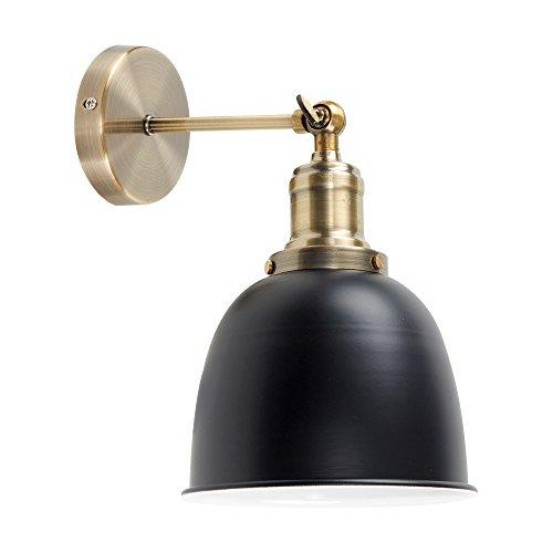 MiniSun – Retro und verstellbare Wandleuchte mit einem antikmessingfarbigen Finish und einem schwarzen Lampenschirm im Steampunk-Stil – Wandleuchte