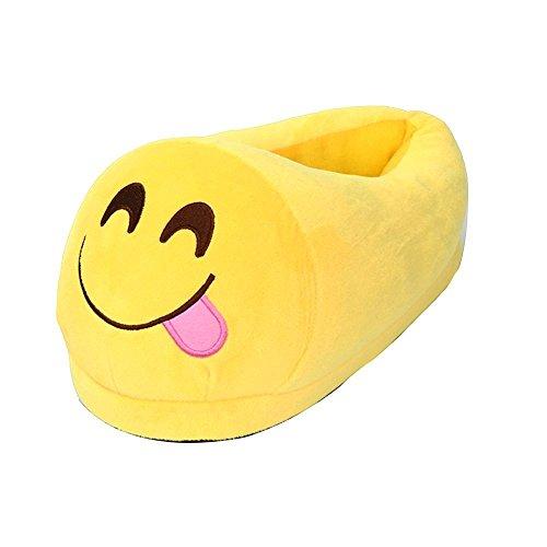 Ocean star® Unisex Herren und Damen Emoji Hausschuhe Winter Hausschuhe Cartoon Hause Pantoffeln(28.5 x 13.5 cm) Zunge 2