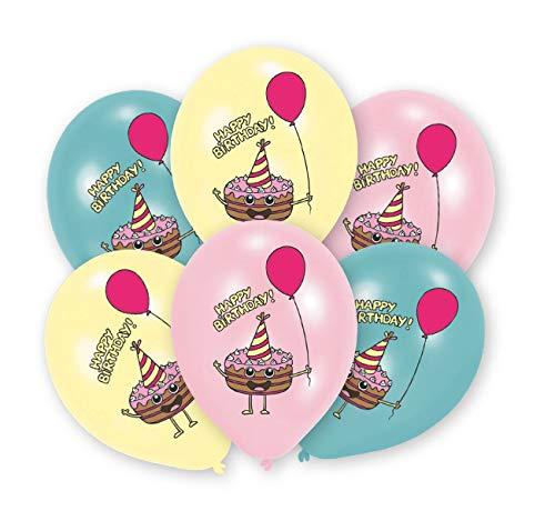 amscan 9905018 6 Latexballons Happy Birthday Kuchen, Rosa, Gelb & Blau