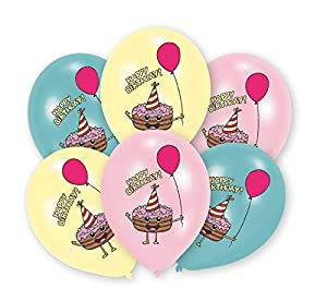 amscan 9905018 Happy Birthday - Globos de látex (6 Unidades), Color Rosa, Amarillo y Azul
