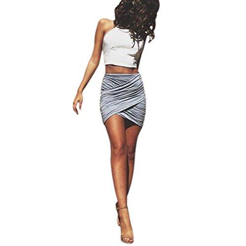 Plissee Paket Hüfte Rock Damen, DoraMe Frauen Hohe Taille Partei-Rock Verband Bodycon Bleistift Röcke Solide Cocktailclub-Rock (Grau, Asien Größe M) (Neuheit-damen-rock)