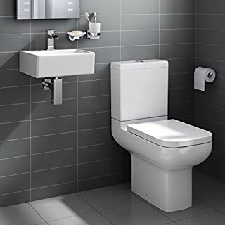 Square Ceramic Small Cloakroom Basin Bathroom Sink + Short Projection Toilet