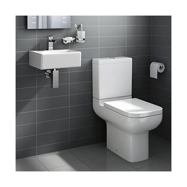 Square Ceramic Small Cloakroom Basin Bathroom Sink Short Projection Toilet