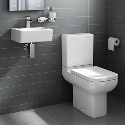 iBathUK Square Ceramic Small Cloakroom Basin Bathroom Sink   Short Projection Toilet