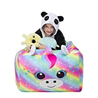 Beinou Unicorn Bean Bag Cover Rainbow Beanbag Gaming Chair Large Living Room Recliner Sofa Gamer Chair Velvet Storage for Kids Girls Boys 61 x 61 CM Only Cover