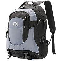 KK 30L Black & Grey Backpack For Men and Women. Unisex Smart & Spacious Rucksack - Water Resistant Backpack For Work, School, Travel, Running & Laptop.